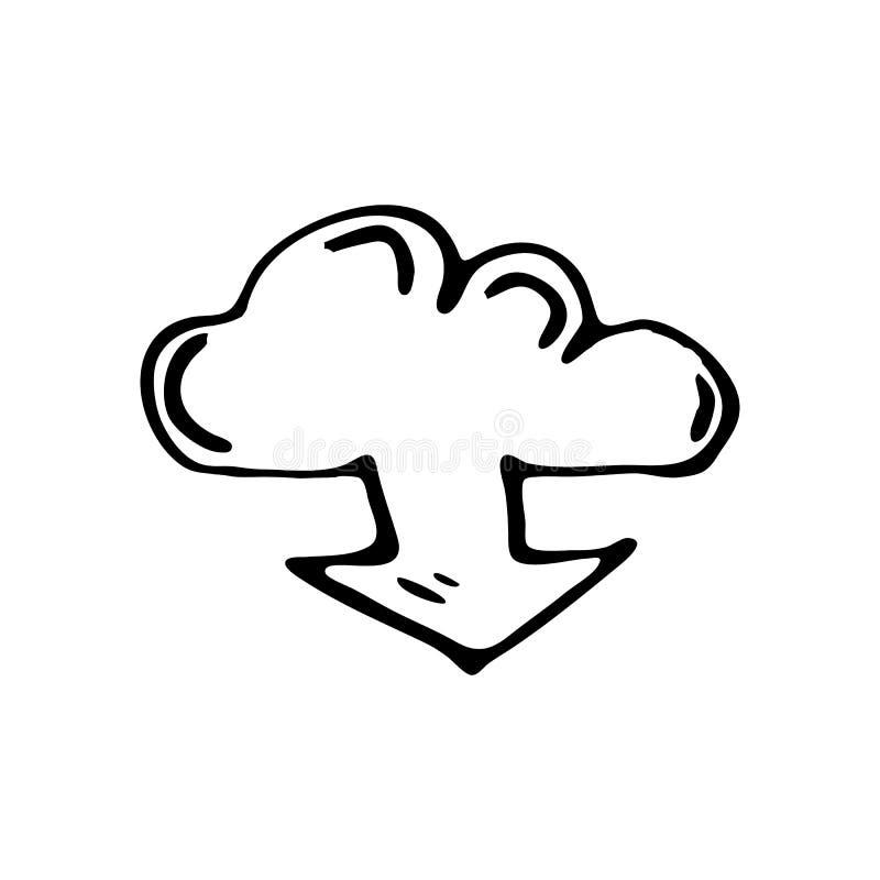 Scarabocchio disegnato a mano di download della nuvola Icona di stile di schizzo decorazione illustrazione vettoriale