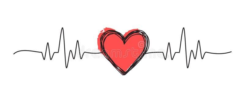 Scarabocchio grungy aggrovigliato del cuore illustrazione vettoriale