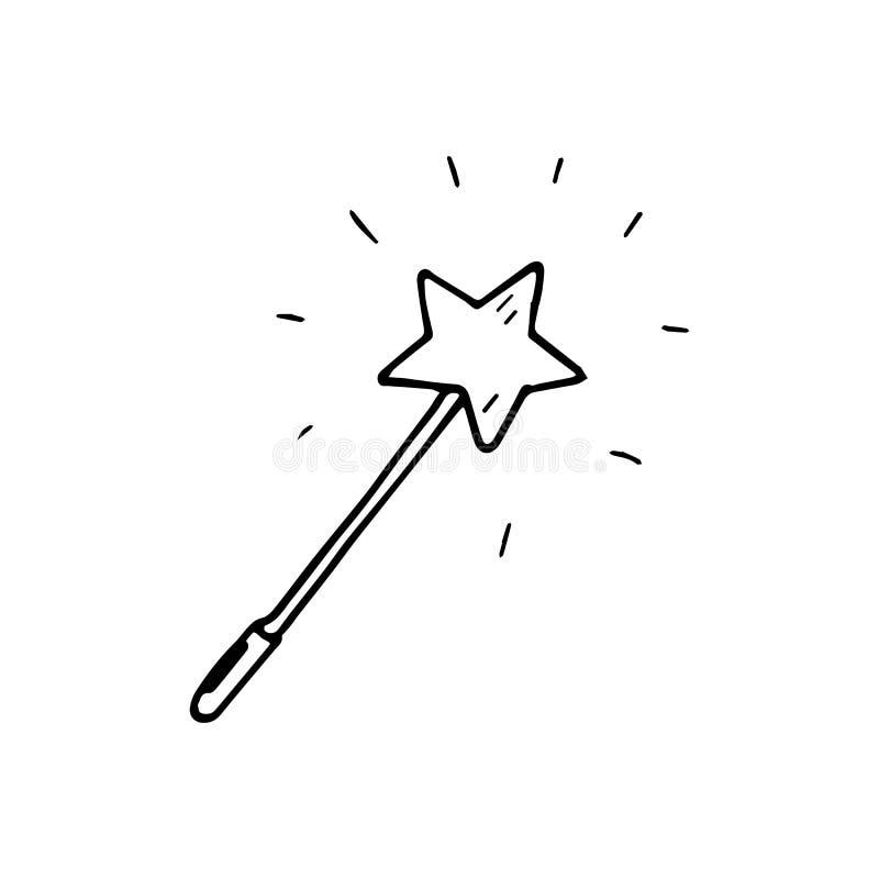 Scarabocchio magico disegnato a mano della bacchetta Icona di stile di schizzo Elem della decorazione illustrazione vettoriale