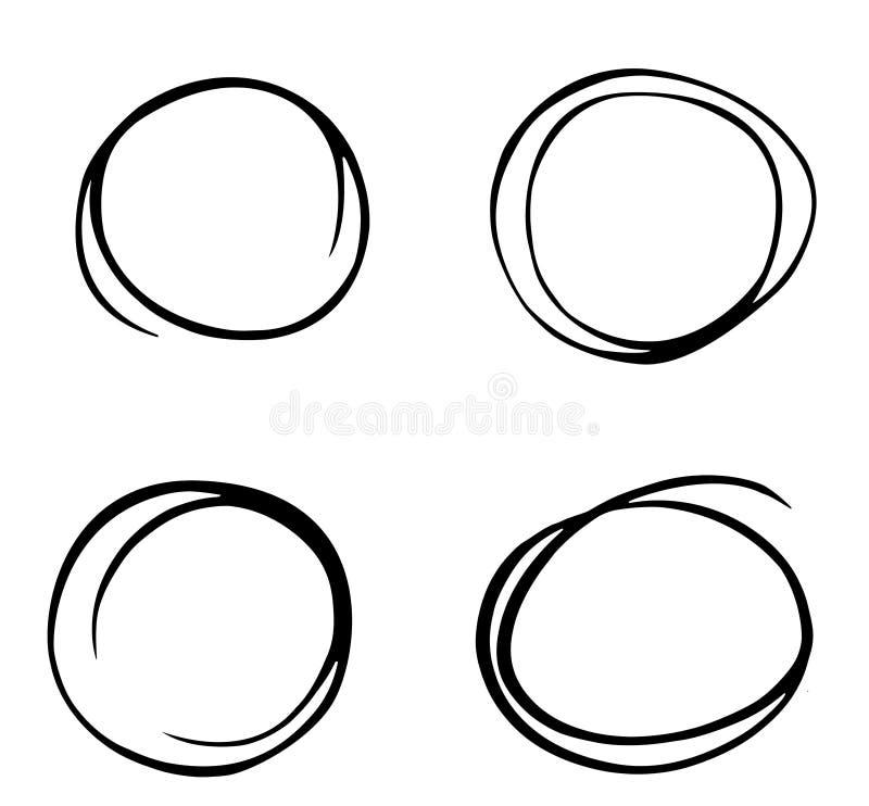 Scarabocchio stabilito di schizzo disegnato a mano del cerchio Linea vettore della matita Linea disegnata a mano insieme del cerc illustrazione vettoriale
