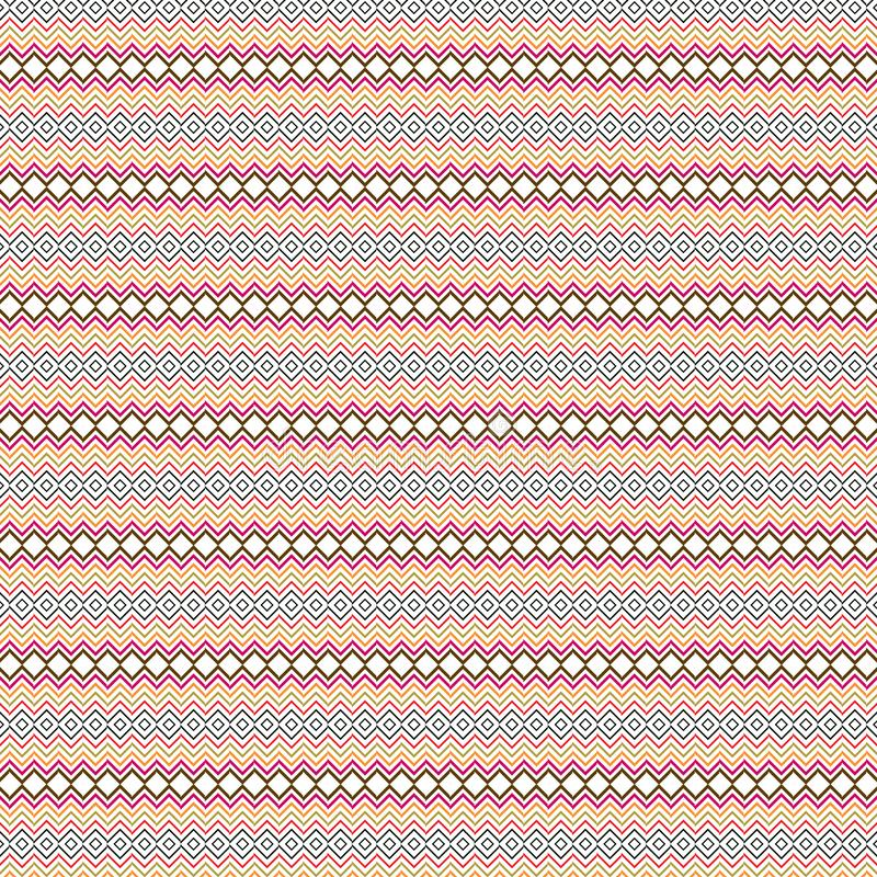 Scarabocchio Zig Zag etnico indigeno Argyle Diamond Tiles Seamless Pattern Background illustrazione di stock