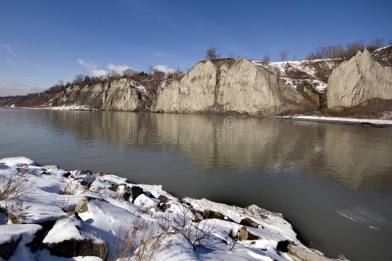 Scarborough Bluffs Toronto Canada, de Winter royalty-vrije stock foto's