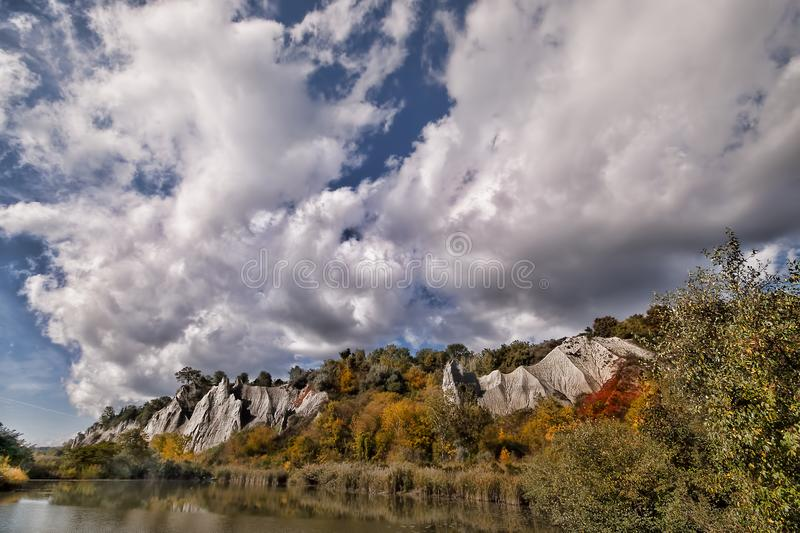Scarborough Bluffs Toronto Canada. Scarborough Bluffs Toronto Canada, with some nice clouds and the beginning of fall colours royalty free stock photo