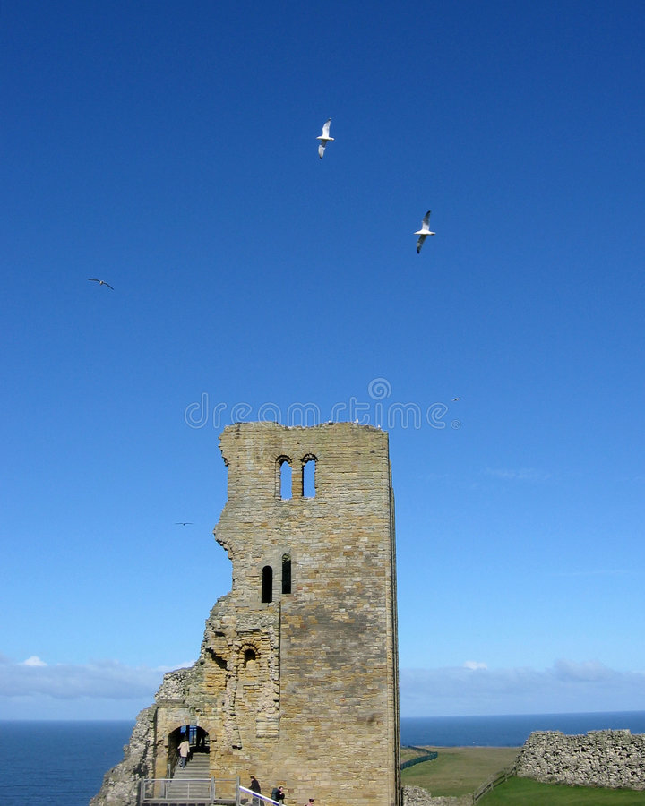 Scarborough castle tower stock images