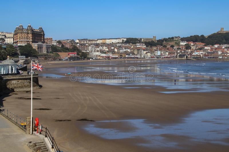 Scarborough in North Yorkshire - United Kingdom. Scarborough. United Kingdom. 09.19.19. The beach at low tide in the seaside resort of Scarborough on the North stock image