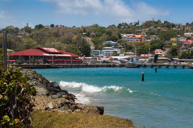 Scarborough port in Tobago stock photo