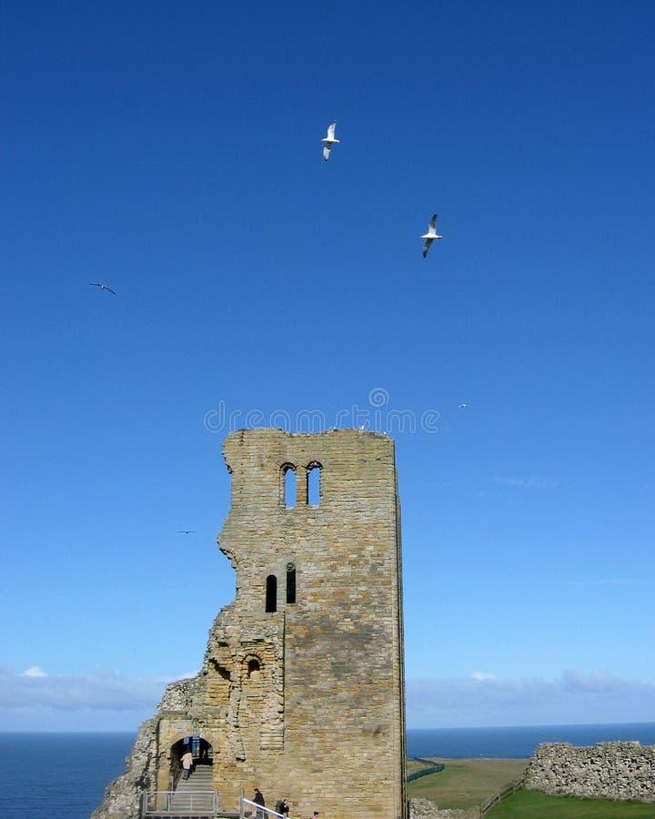 Scarborough-Schlosskontrollturm stockbilder
