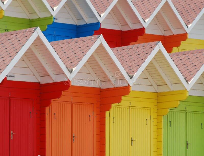 Scarborough-Strandhütten stockbild