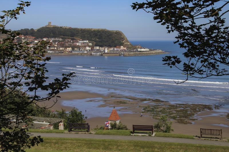 Scarborough - North Yorkshire - United Kingdom. Scarborough. United Kingdom. 09.19.19. The ruins of Scarborough Castle on the headland above the seaside resort royalty free stock photography