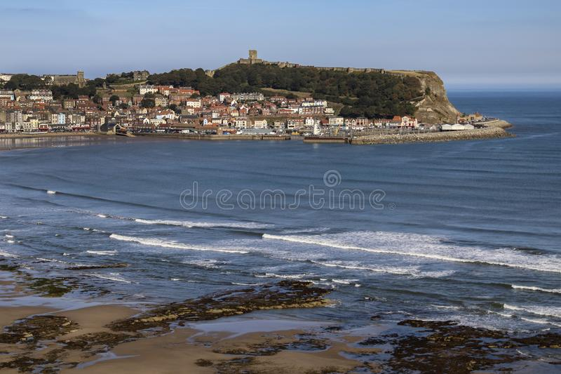 Scarborough - Yorkshire - United Kingdom. Scarborough. United Kingdom. 09.19.19. The ruins of Scarborough Castle on the headland above the seaside resort of stock photos