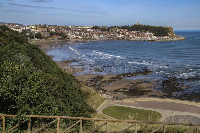 Scarborough - Yorkshire - United Kingdom. Scarborough. United Kingdom. 09.19.19. The ruins of Scarborough Castle on the headland above the seaside resort of royalty free stock photos