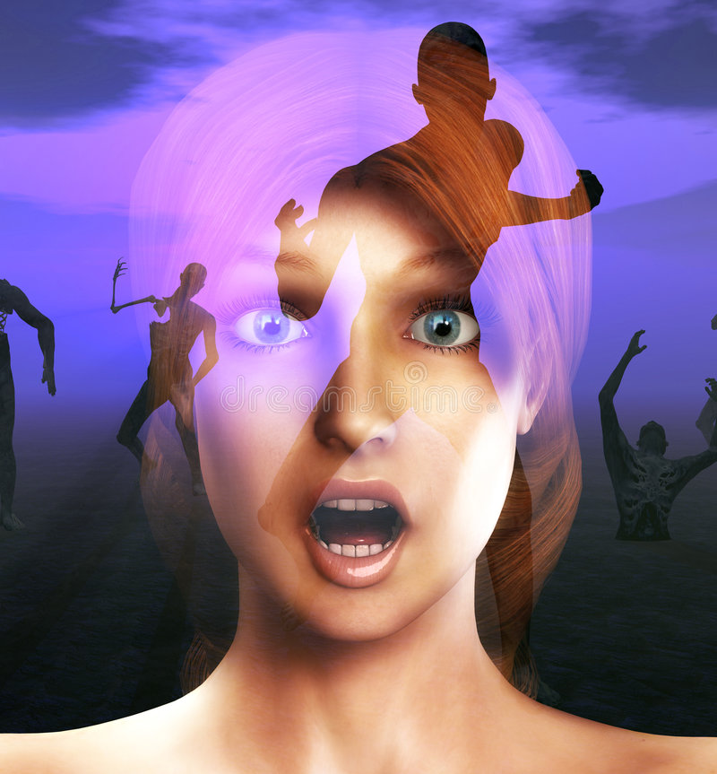 Scare 14. A conceptual image of a women in a state of fear or shock or pain as zombies come for her vector illustration