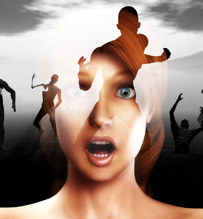 Scare 15. A conceptual image of a women in a state of fear or shock or pain as zombies come for her stock illustration