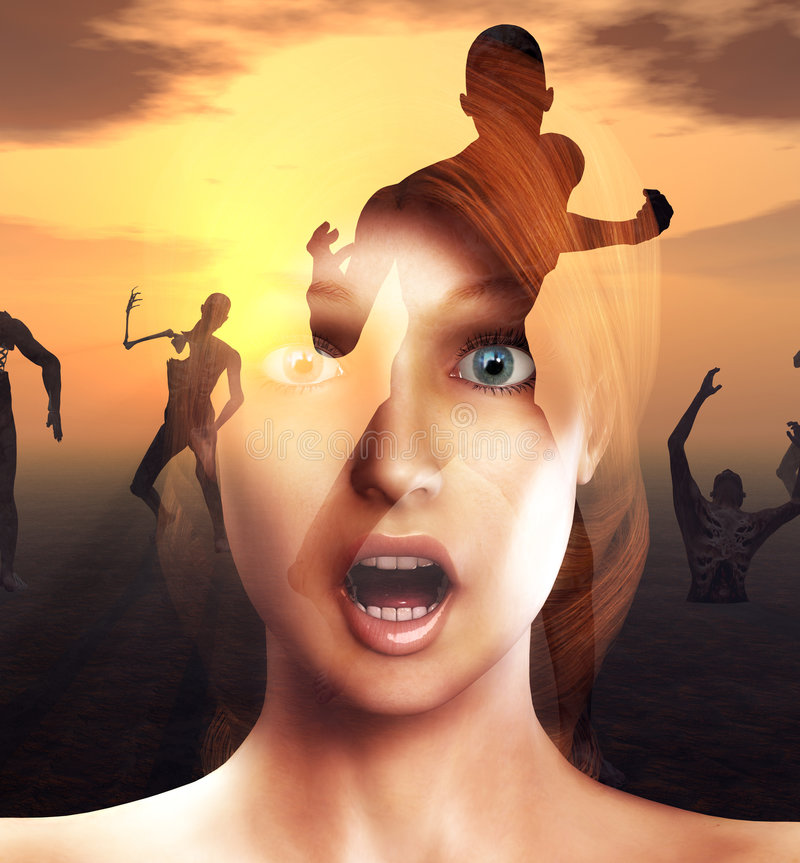 Scare. A conceptual image of a women in a state of fear or shock or pain as zombies come for her stock illustration