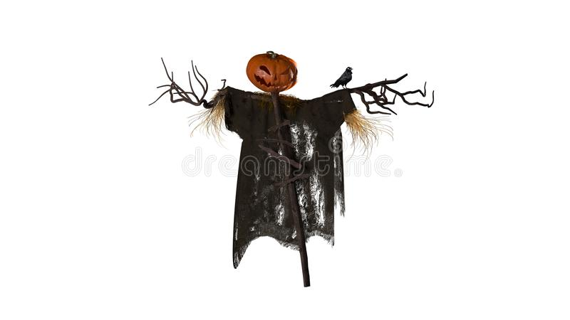 Scarecrow with alpha chanel. Scarecrow epic halloween with alpha chanel watch royalty free stock image