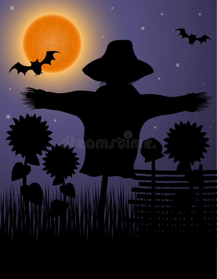 Scarecrow black silhouette in the night sky and the moon vector illustration