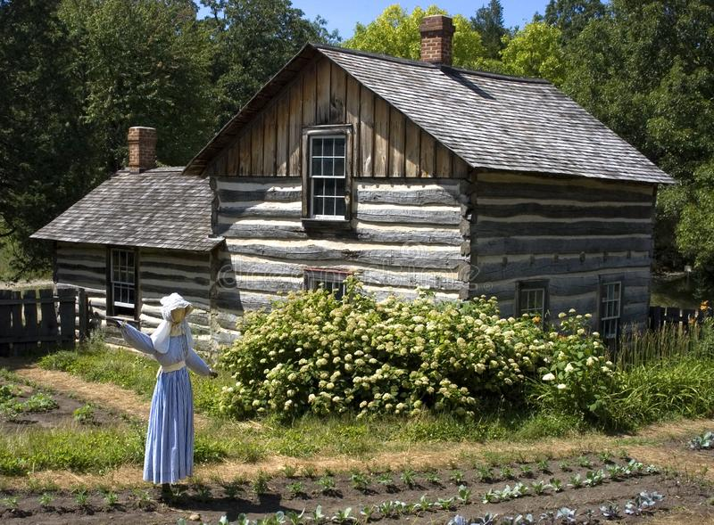 Scarecrow in Farm Garden and Log Cabin stock images