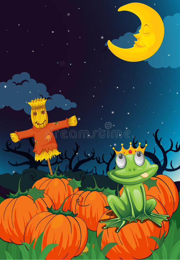 A scarecrow and frog royalty free illustration