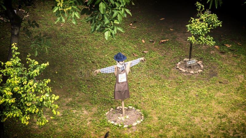 Scarecrow in the garden near the walls of Upper City, aka Citta Alta, Bergamo, Italy stock photography
