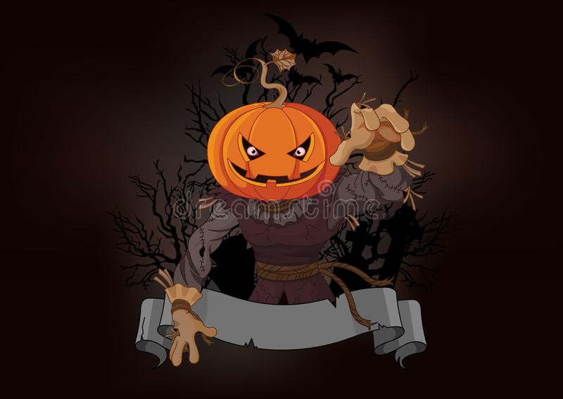 Scarecrow with a pumpkin head stock illustration
