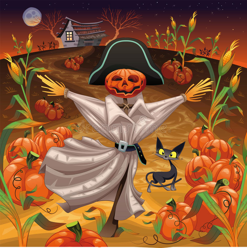 Download Scarecrow with pumpkins stock vector. Image of fear, horror - 15917163