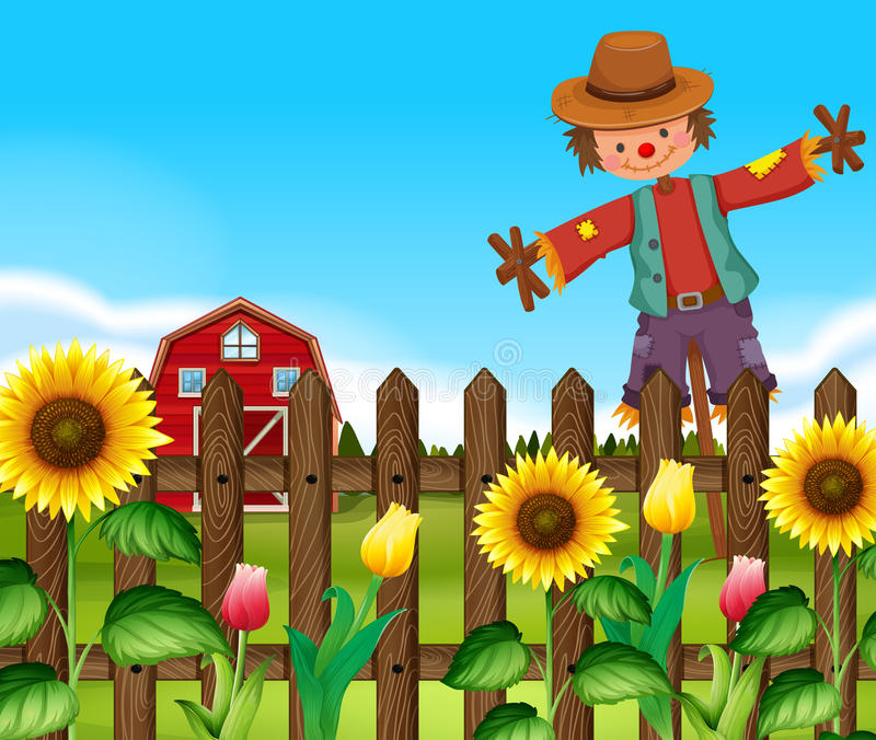 Scarecrow in the sunflower field royalty free illustration