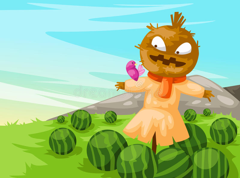 Download Scarecrow  With Watermelon Stock Images - Image: 20082604