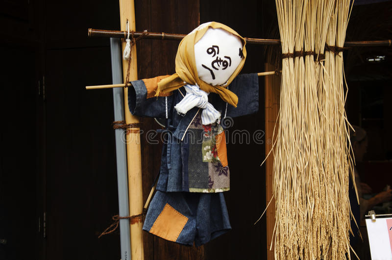Scarecrows japanese style for show people at Kawagoe or Kawagoe. Little Edo in town of Kanto region in Saitama, Japan stock images