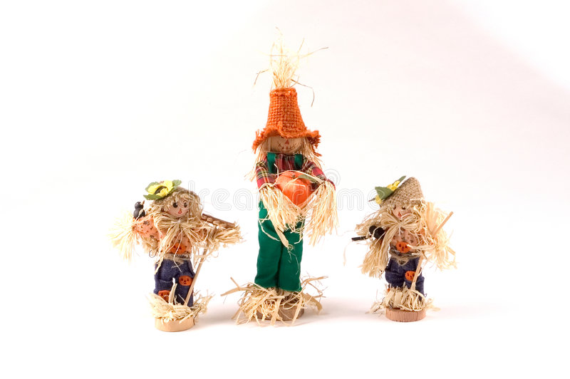 Download Scarecrows tre arkivfoto. Bild av garnering, halloween, ferie - 27856