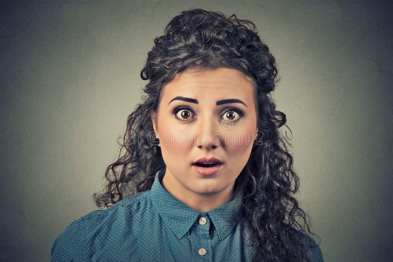 Scared冲击了妇女 免版税库存照片