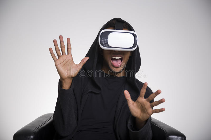 Download Scared African American Man Playing Vr Game Stock Photo - Image: 83722176