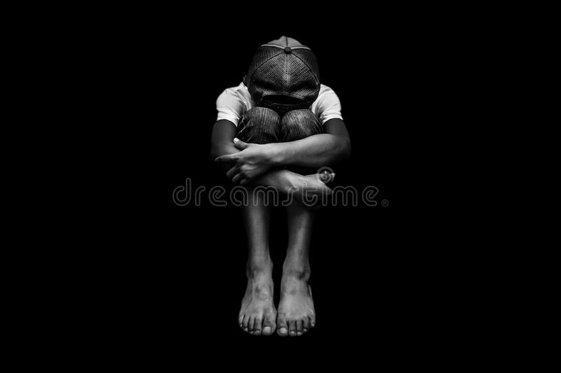 Scared and alone stock image
