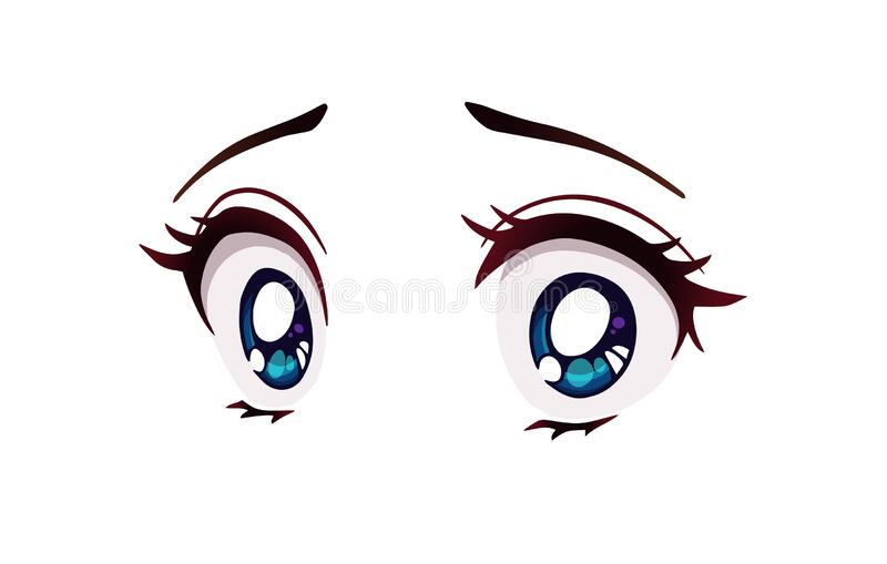Scared Anime Style Big Blue Eyes Little Nose And Kawaii Mouth Stock Vector Illustration Of Asian Comic 176473878