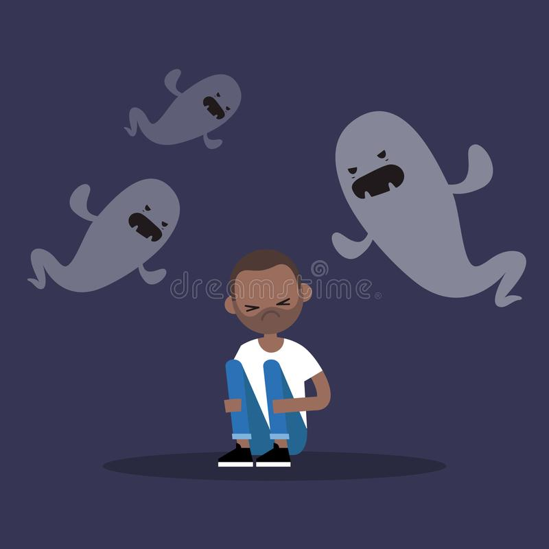 Scared black man surrounded by ghosts / flat illustrati stock illustration