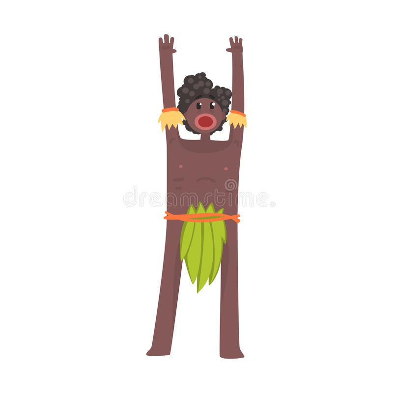 Scared black skinned man aborigine stands with hands up. Indigenous peoples of African or Australian tribe. Dressed in traditional green hula skirt. artoon vector illustration