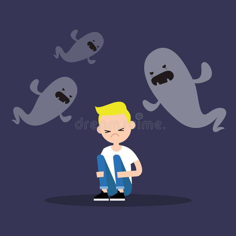 Scared blond boy surrounded by ghosts / flat editable illustration stock illustration