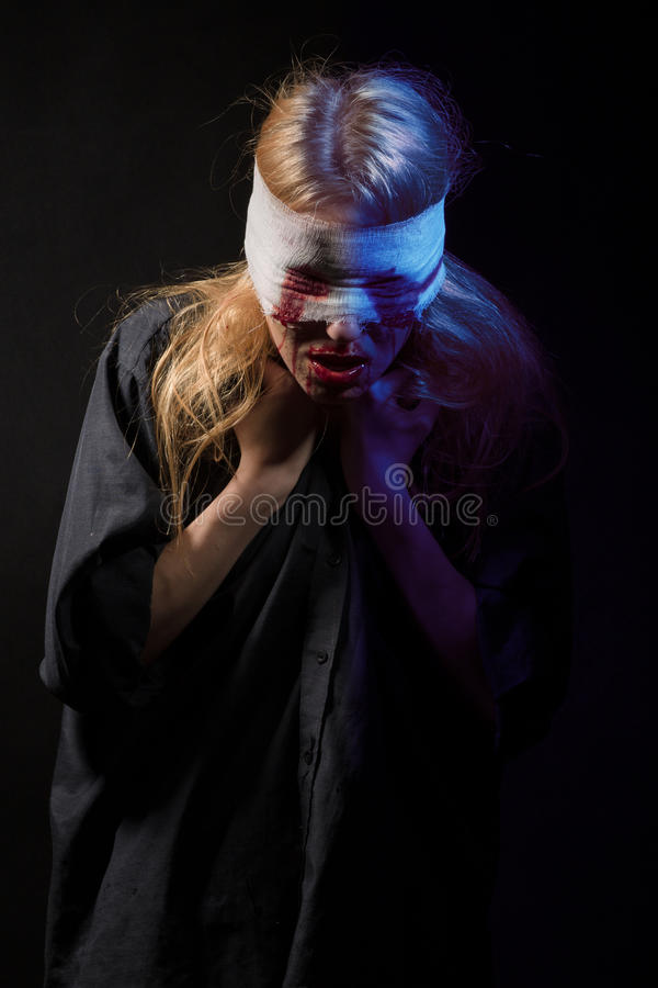 Scared bloody girl royalty free stock photo