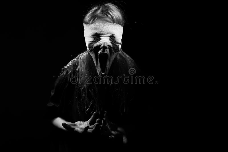 Scared bloody girl royalty free stock image
