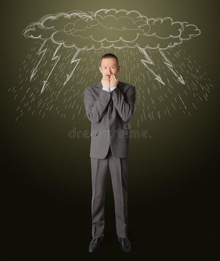 Scared businessman stock image
