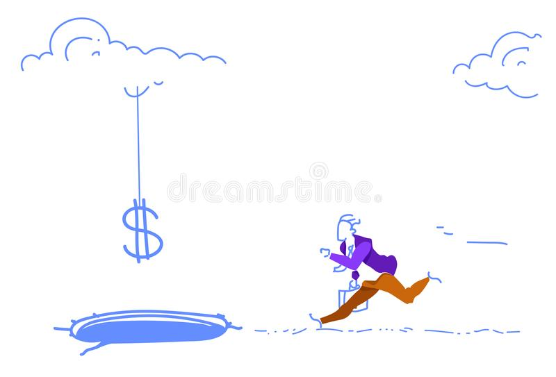 Scared businessman bait dollar sign falling ice hole credit debt finance crisis concept man running money growth sketch. Doodle horizontal vector illustration stock illustration