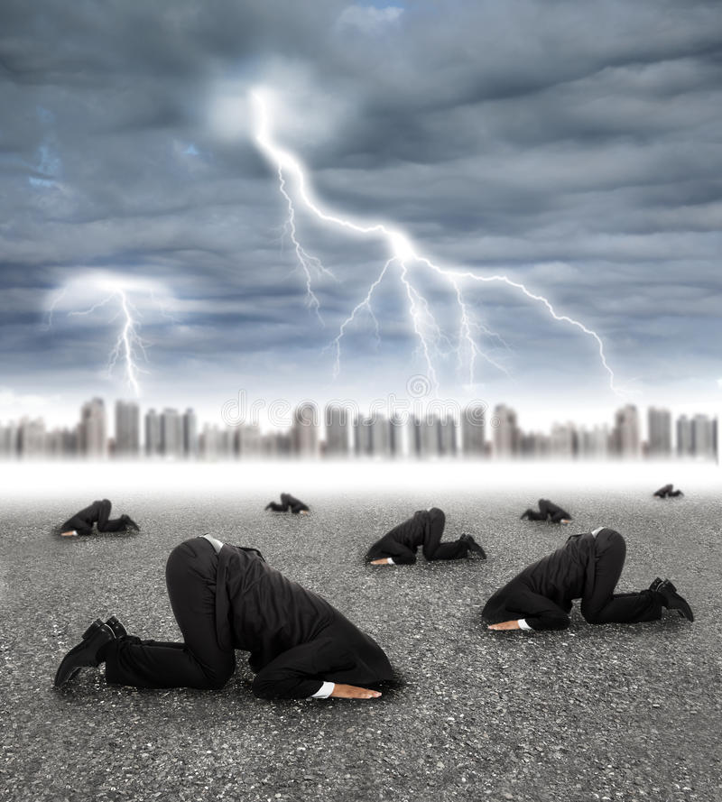 Download Scared Businessman Hiding On The Ground With Storm Stock Photo - Image: 33735994