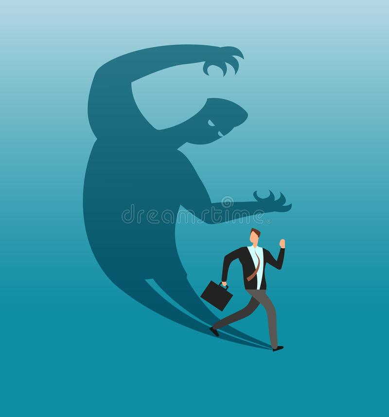 Scared businessman running away in panic from own shadow. Anxiety and conflict vector business concept vector illustration