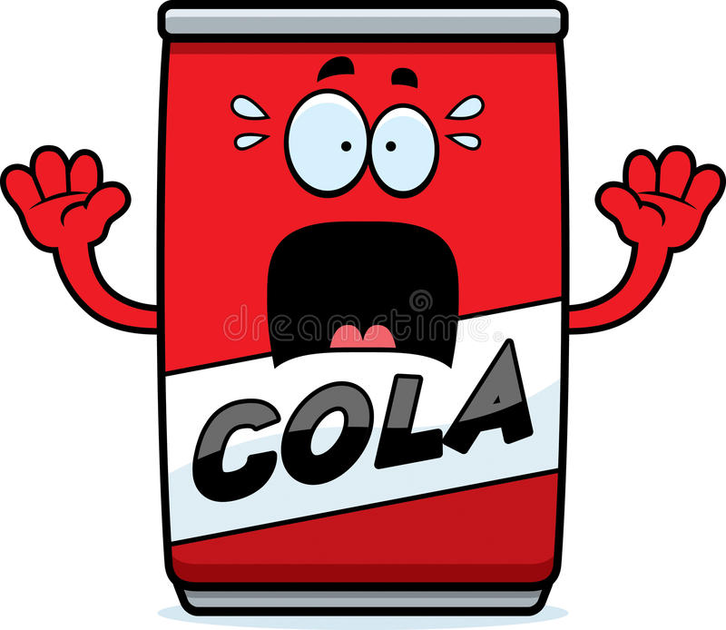 Scared Cartoon Cola Can vector illustration
