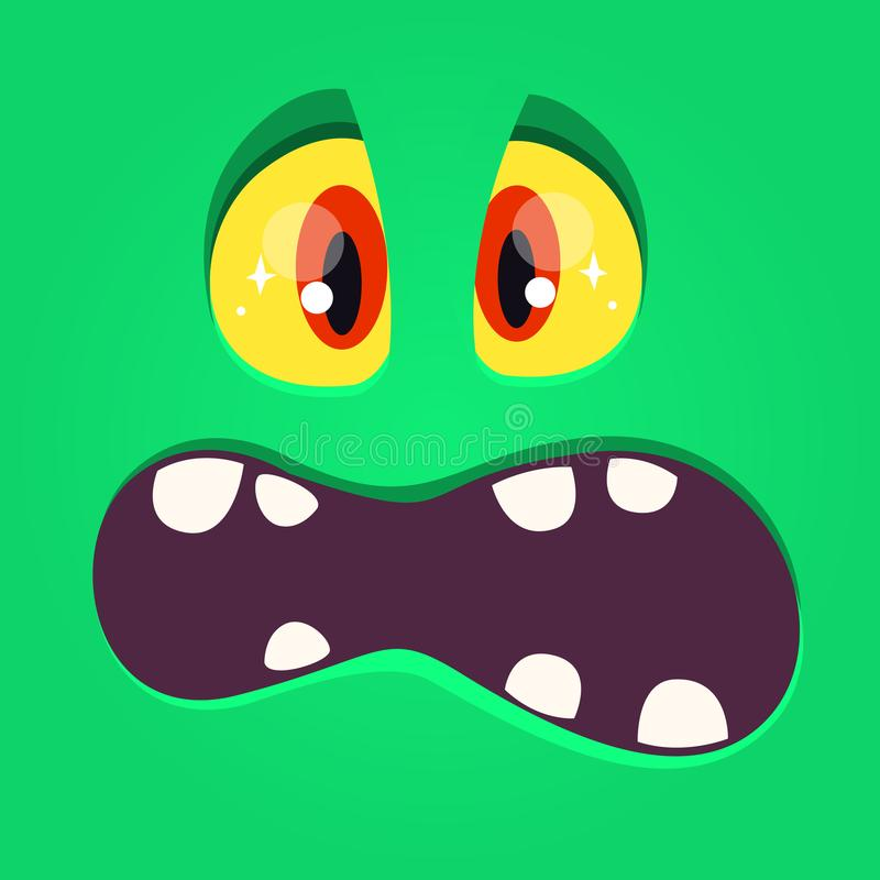 Scared cartoon monster face yelling. Vector Halloween green monster with big mouth. Scared cartoon monster face yelling. Vector Halloween green monster with big vector illustration