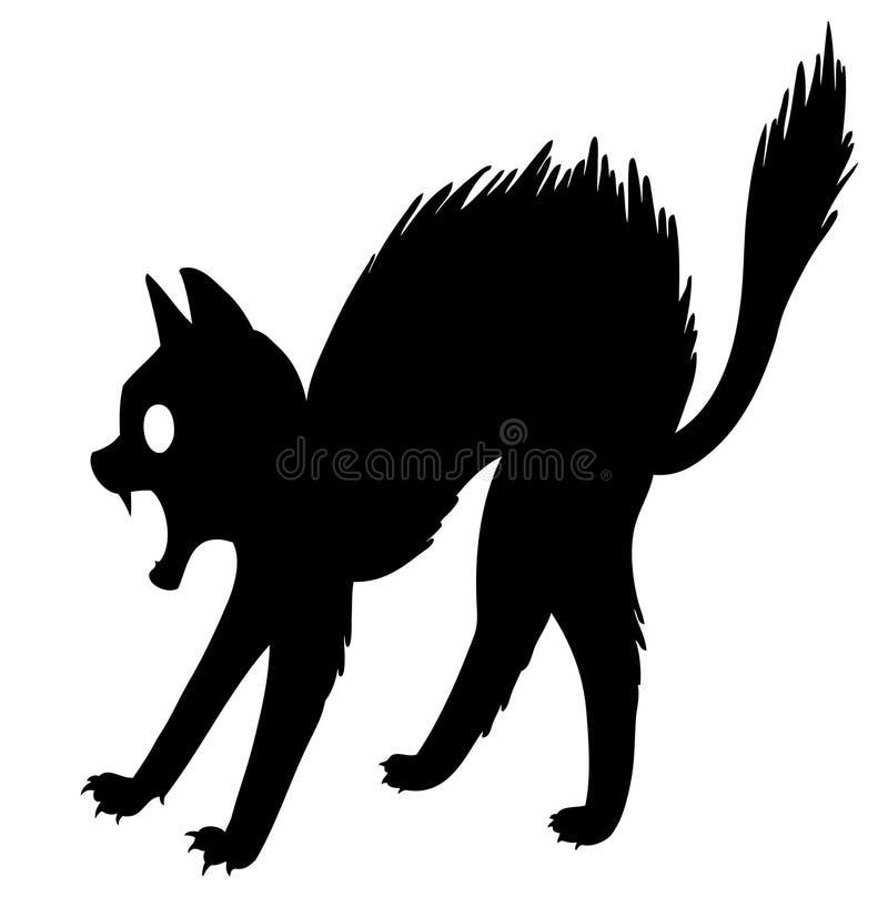Cartoon Black Cat Frightened