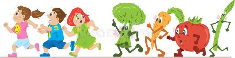 Scared de comer saudável ilustração royalty free