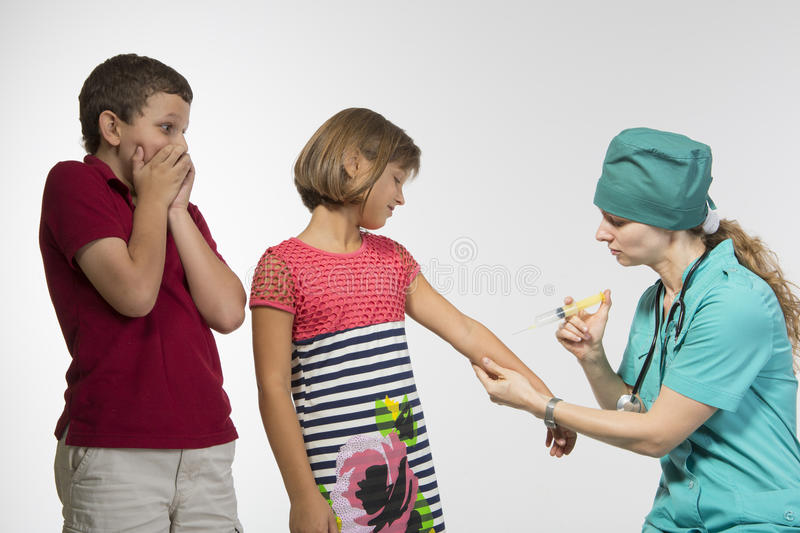 Scared Of The Doctor Royalty Free Stock Photo
