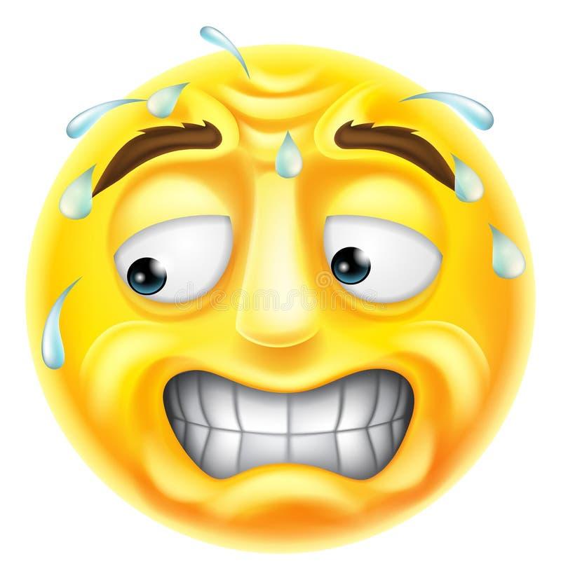 Scared Emoticon Emoji stock illustration