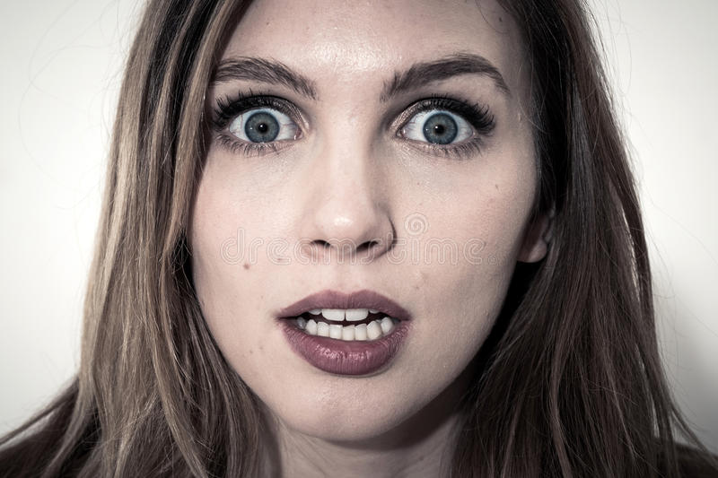 Scared face of women royalty free stock photo