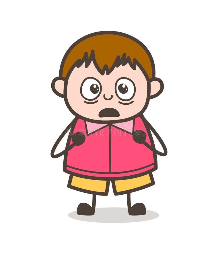 Scared Facial Expression - Cute Cartoon Fat Kid Illustration. Design stock illustration
